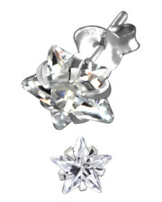 Clear Crystal Star Ear Stud. 925 Silver. Claw setting. Various sizes .