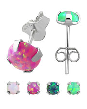 Prong Set Imitation Opal Ear Stud.925 Silver.  Various colours . 2mm or 3mm.