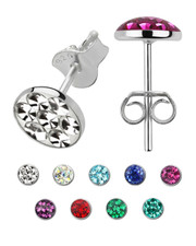 Ear Stud with 3mm Crystal-Set Dome. 925 Silver. Various colours.