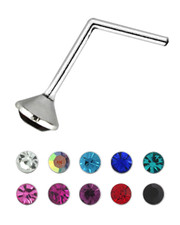 L Shaped Nose Stud. 925 Silver. 1.5mm Pasted Crystal. Various colours.