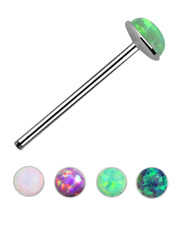 Nose Stud. 2mm Opal-Style Jewel. Various colours. 925 Fine Silver.