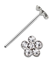 Nose Stud. Crystal Daisy. 925 Fine Silver. Paste Set.