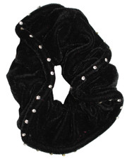 Black velvet jewelled scrunchie