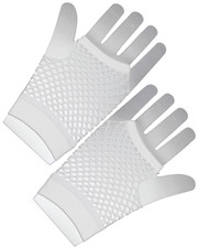 Fishnet gloves. Short white fishnet