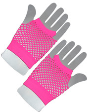 Fishnet gloves. Short neon pink.