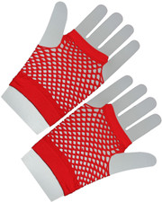Fishnet gloves. Short red fishnet