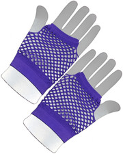 Fishnet gloves. Short neon purple.