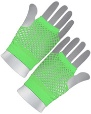Fishnet gloves. Short neon green