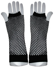 Fishnet gloves. Long black fishnet