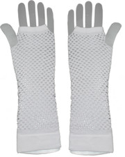 Fishnet gloves. Long white fishnet