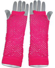 Fishnet gloves. Long neon pink