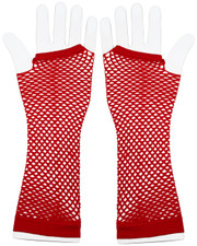 Fishnet gloves. Long red fishnet