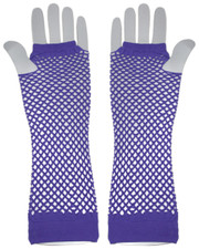 Fishnet gloves. Long neon purple