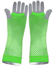 Fishnet gloves. Long neon green
