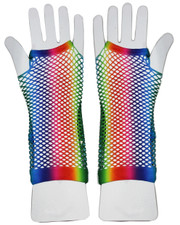 Fishnet gloves. Long Rainbow pride