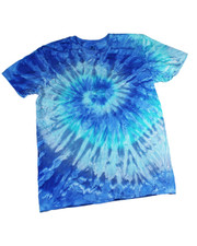 TIE DYE T SHIRT. TURQUOISE SPIRAL
