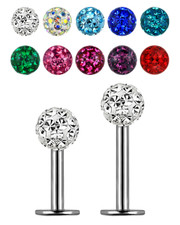 GLITTER BALL LABRET.  4mm GLITZY BALL