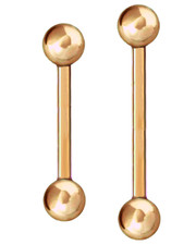 ROSE GOLD PVD STEEL BARBELL. 1.6mm THICK.