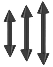 BLACK PVD  STEEL BARBELL WITH CONES