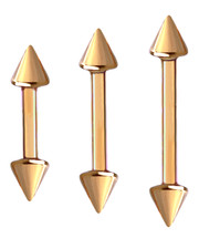ROSE GOLD PVD  STEEL BARBELL WITH CONES