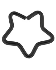 Star hoop. Open ring. Black PVD steel