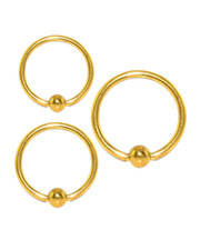 Ball closure ring. Gold PVD coated Surgical steel
