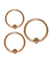Ball closure ring. Rose Gold PVD Surgical steel