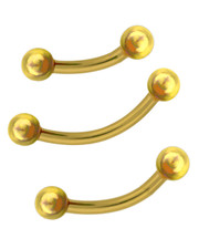 EYEBROW / SMILEY BAR. PVD GOLD SURGICAL STEEL
