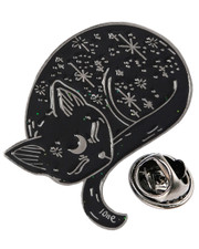 Black cat. Pin badge