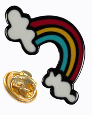 Rainbow with clouds. Pin badge