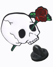 Skull rose. Pin badge