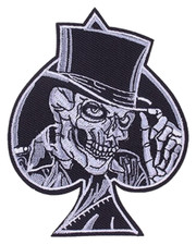 IRON ON PATCH. SKULL TOP HAT