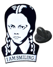 I am smiling. Pin badge.