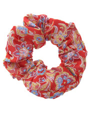 floral scrunchie. chinese red