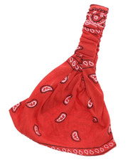 3 in 1 HAIRBAND. RED PAISLEY