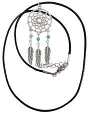 Bead Dreamcatcher. Wax cord necklace