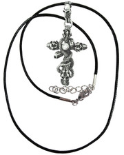 Jewelled cross. Wax cord necklace