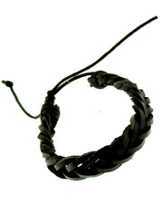 black plaited wristband. Thick