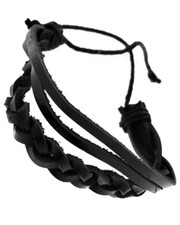 black plaited wristband. 3 layer