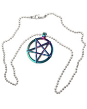 "Rainbow Pentagram on 20"" Ball Chain."