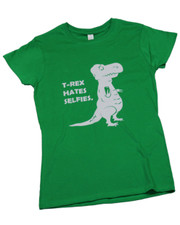 T-Rex Hates Selfies. Ladies T-Shirt.