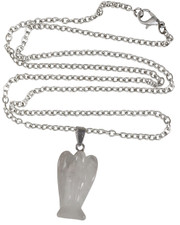 "Rose quartz angel on 30"" chain"