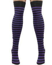 Over the Knee Socks. Black and Purple Stripey.