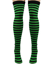 Over the Knee Socks. Black and Irish Green Stripey.