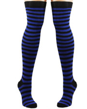 Over the Knee Socks. Black and Blue Stripey.