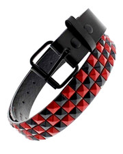 Studded belt. Black And Red check.