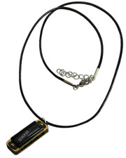 Wax Cord Necklace with Working Miniature Swan Harmonica.