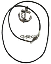 Wax Cord Necklace with Anchor Pendant.