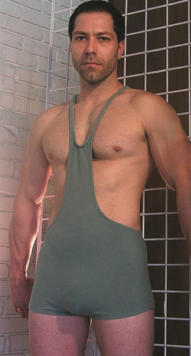 This singlet has a bib fronbt with a racer back style.