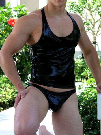 """ MENS VINYL BIKINI OR THONG ( 9 Color Selections)Customize Front Cut, Side Width, and Back Cut"